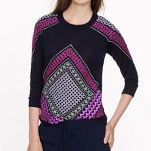 J. Crew Embroidered Tile Tippi jcrew Sweater